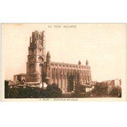 carte postale ancienne 81 ALBI. Cathédrale Sainte-Cécile. Pub Grand Hôtel de la Poste