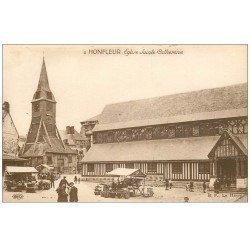 carte postale ancienne 14 HONFLEUR. Eglise Sainte-Catherine et Marché 2