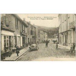 carte postale ancienne 81 BOISSEZON. Grande Rue et Magasin Bonnet. Superbe voiture ancienne