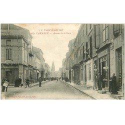 carte postale ancienne 81 CARMAUX. Coiffeur Avenue de la Gare 1918