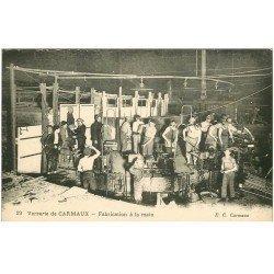 carte postale ancienne 81 CARMAUX. La Verrerie fabrication à la main