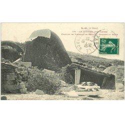 carte postale ancienne 81 CASTRES LE SIDOBRE. Carriers au repos Chantier de Tailleurs de Granit 1910. Coupure 1cm invisible...
