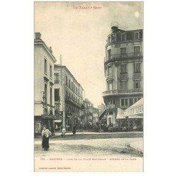 carte postale ancienne 81 CASTRES. Banque Crédit Lyonnais Avenue de la Gare et Place Nationale