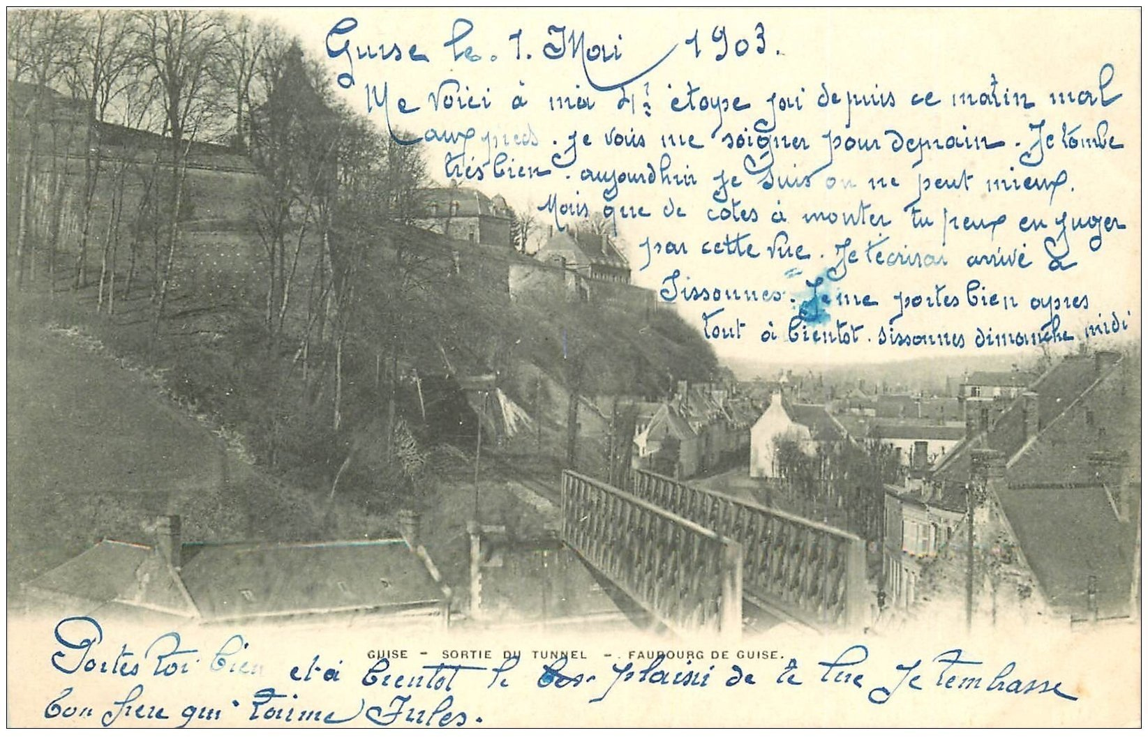 carte postale ancienne 02 GUISE. Sortie Tunnel Faubourg de Guise 1903