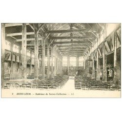 carte postale ancienne 14 HONFLEUR. Eglise Sainte-Catherine intérieur