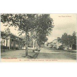 carte postale ancienne 81 CASTRES. Gare des Tramways Place de l'Albinque avec Buvette