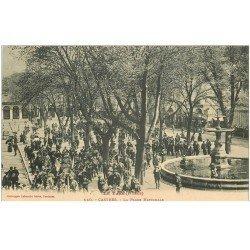 carte postale ancienne 81 CASTRES. La Fanfare Place Nationale. Musique et Musiciens