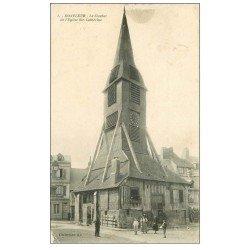 carte postale ancienne 14 HONFLEUR. Eglise Sainte-Catherine le Clocher 1