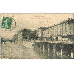 carte postale ancienne 81 CASTRES. Les Quais et les Lavoirs 1914 magasin Grand Bazar et Lavandières