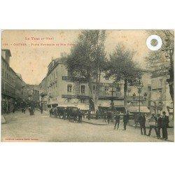 carte postale ancienne 81 CASTRES. Place Nationale et Rue Henri IV Café des Négociants