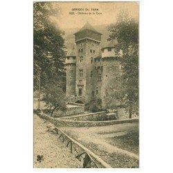 carte postale ancienne 81 CHATEAU DE LA CAZE avec personnage sur petit Pont de pierres