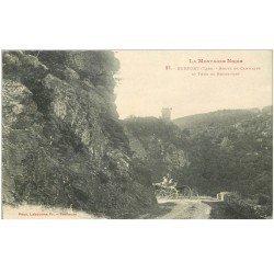 carte postale ancienne 81 DURFORT. Attelage Route de Cammazes et Tour de Rochefort 1924