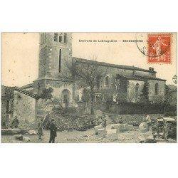 carte postale ancienne 81 ESCOUSSENS. Les Tailleurs de Pierres 1910 Place de l'Eglise. Etat impeccable