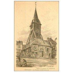 carte postale ancienne 14 HONFLEUR. Eglise Sainte-Catherine le Clocher dessin Bernhardt