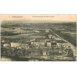 carte postale ancienne 81 LABRUGUIERE. Panorama du bout du Pont 1907