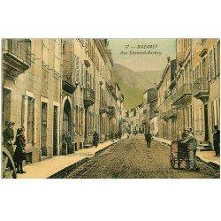 carte postale ancienne 81 MAZAMET. Rue Edouard Barbey avec Triporteur 1909