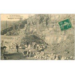carte postale ancienne 82 BRUNIQUEL. Belaygue concessionnaire Carrières de Calcaire et Sable 1911. Tailleurs de pierres