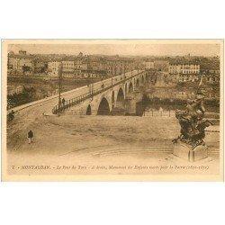 carte postale ancienne 82 MONTAUBAN. Pont du Tarn et Monument des Enfants Morts pour la Patrie