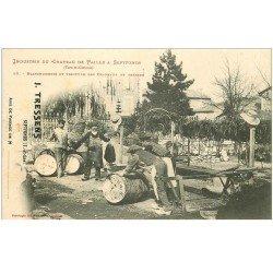 carte postale ancienne 82 SEPTFONDS. Industrie du Chapeau de Paille. Blanchisserie et Teinture Chapeaux et Tresses vers 1900