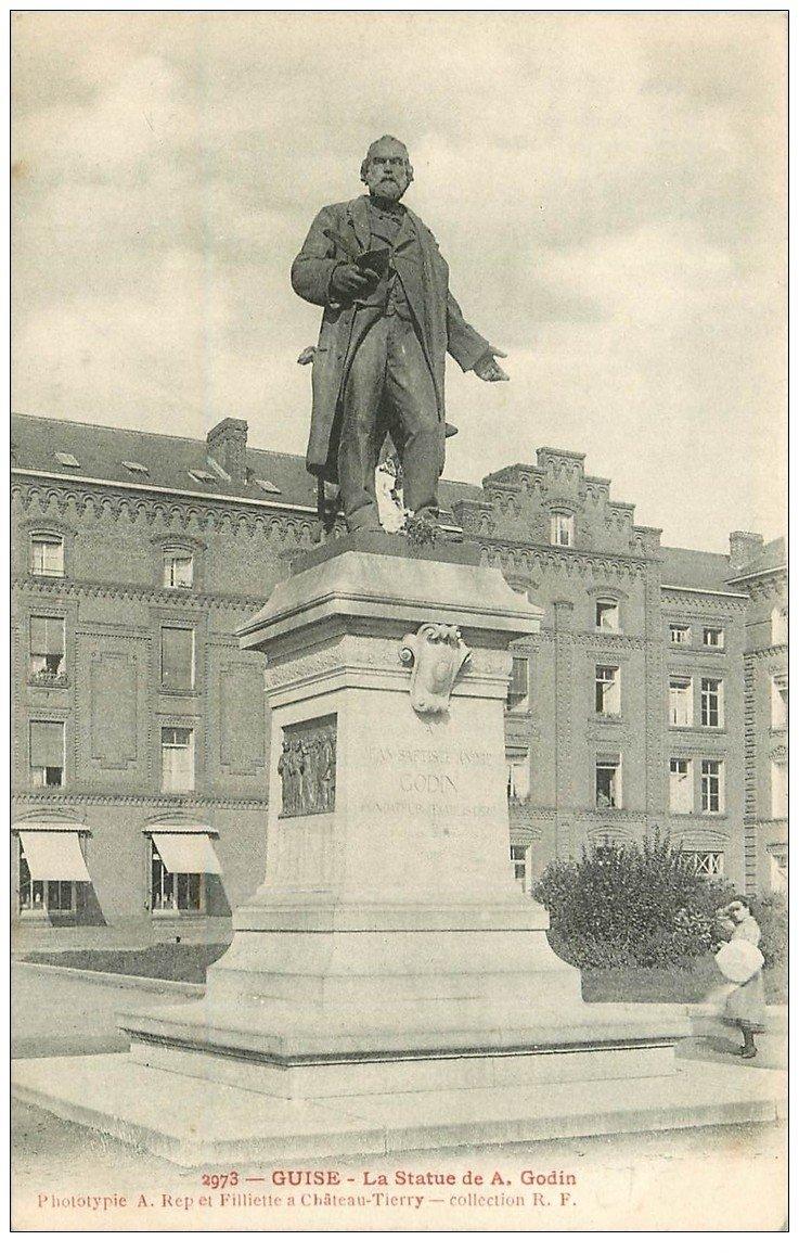 carte postale ancienne 02 GUISE. Statue de Godin