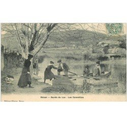 carte postale ancienne 83 BESSE SUR ISSOLE. Les Cannettes Bords du Lac 1906 avec la Passeur en barque. Impeccable