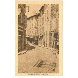 carte postale ancienne 83 BRIGNOLES. Grande Rue Tabacs Coiffeur Hôtel et Pharmacien