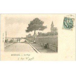 carte postale ancienne 83 HYERES. La Plage 1903