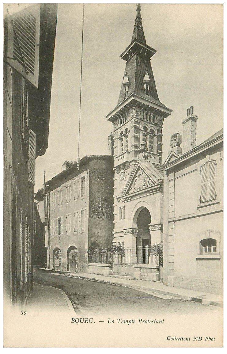 carte postale ancienne 01 BOURG. Le Temple Protestant. Carte pionnière vierge