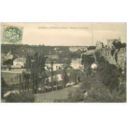 carte postale ancienne 86 ANGLES SUR L'ANGLIN. Ruines et Panorama 1907