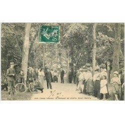 carte postale ancienne 86 CENON. Bosquet Hôtel Saint Martin 1909 Cycliste et Femme sur balançoire