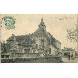 carte postale ancienne 86 CENON. Eglise et Cycliste 1904