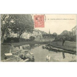 carte postale ancienne 86 CHATELLERAULT. Cygnes au Bassin du Square 1906