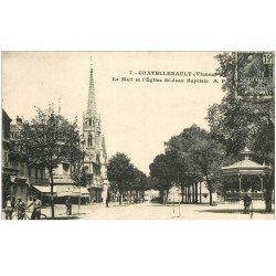 carte postale ancienne 86 CHATELLERAULT. Mail et Eglise Saint Jean Baptiste 1931