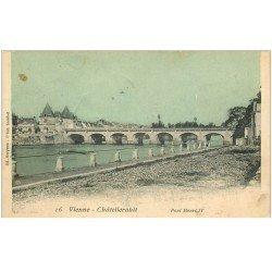 carte postale ancienne 86 CHATELLERAULT. Pont Henri IV Timbre absent mais T du Facteur