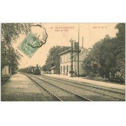 carte postale ancienne 86 CLAN JAULNAY. Arrivée du Train dans la Gare 1907 Locomotive à vapeur et Cheminot