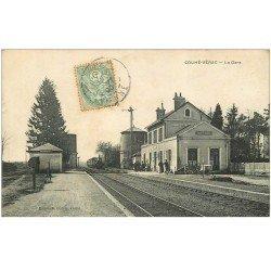 carte postale ancienne 86 COUHE VERAC. La Gare 1905 avec Train et Locomotive à vapeur