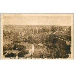 carte postale ancienne 86 L'ISLE JOURDAIN. Vallée de la Vienne 1947 et Grand Pont Viaduc