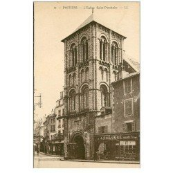 carte postale ancienne 86 POITIERS. Eglise Saint Porchaire et Sellier Philoque 1937