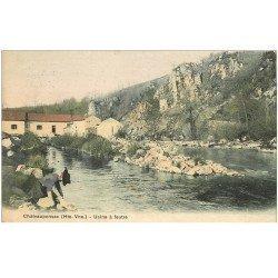 carte postale ancienne 87 CHATEAUPONSAC. Usine à feutre 1909 Lavandière au premier plan et tampon de Château Ponsac