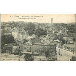 carte postale ancienne 87 LIMOGES. Boulevard Gambetta Epicerie et Tramway 1917