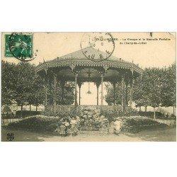 carte postale ancienne 87 LIMOGES. Kiosque à Musique et Nouvelle Fontaine du Champ de Juillet 1912