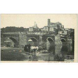 carte postale ancienne 87 LIMOGES. Lavandières Laveuses Pont Saint-Etienne Vieux Pont romain