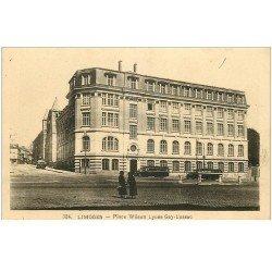 carte postale ancienne 87 LIMOGES. Lycée Gay Lussac Place Wilson autocars scolaires 1942