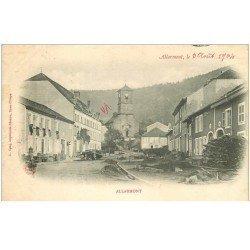 carte postale ancienne 88 ALLARMONT. Eglise et Rue principale 1904