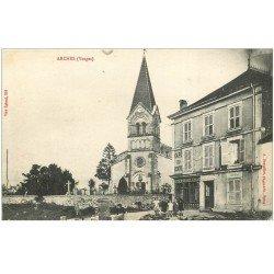 carte postale ancienne 88 ARCHES. Café du Centre Lothammer et Coiffeur. Eglise et Cimetière