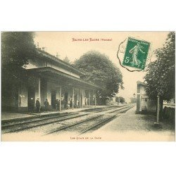 carte postale ancienne 88 BAINS LES BAINS. Les Quais de la Gare 1915