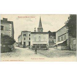 carte postale ancienne 88 BAINS LES BAINS. Place de la Fontaine