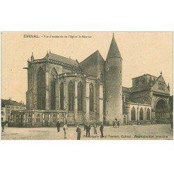 carte postale ancienne 88 EPINAL. Eglise Saint Maurice 1915 belle animation
