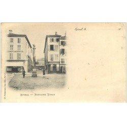 carte postale ancienne 88 EPINAL. Fontaine Pinau et Confiserie 1900 (défaut)