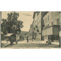 carte postale ancienne 88 GERARDMER. Hôtel de la Poste Place du Tilleul avec Diligence